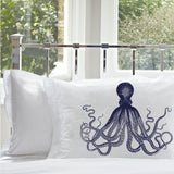 Navy Blue Deep Sea Octopus Pillowcase Nautical Standard Pillowcase