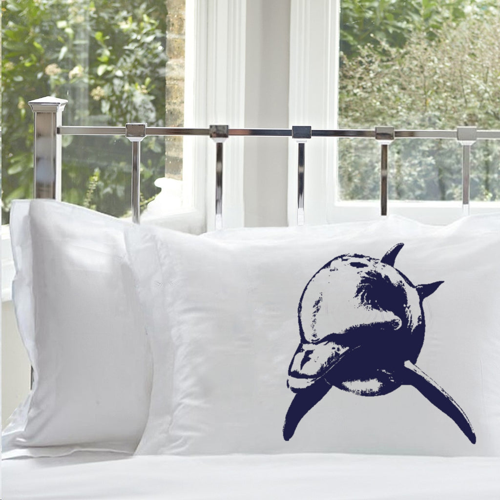 Sale - 38% OFF - Set of Two - Navy Blue Bottle Nose Dolphin White Nautical Pillowcase pillow cover ocean sea