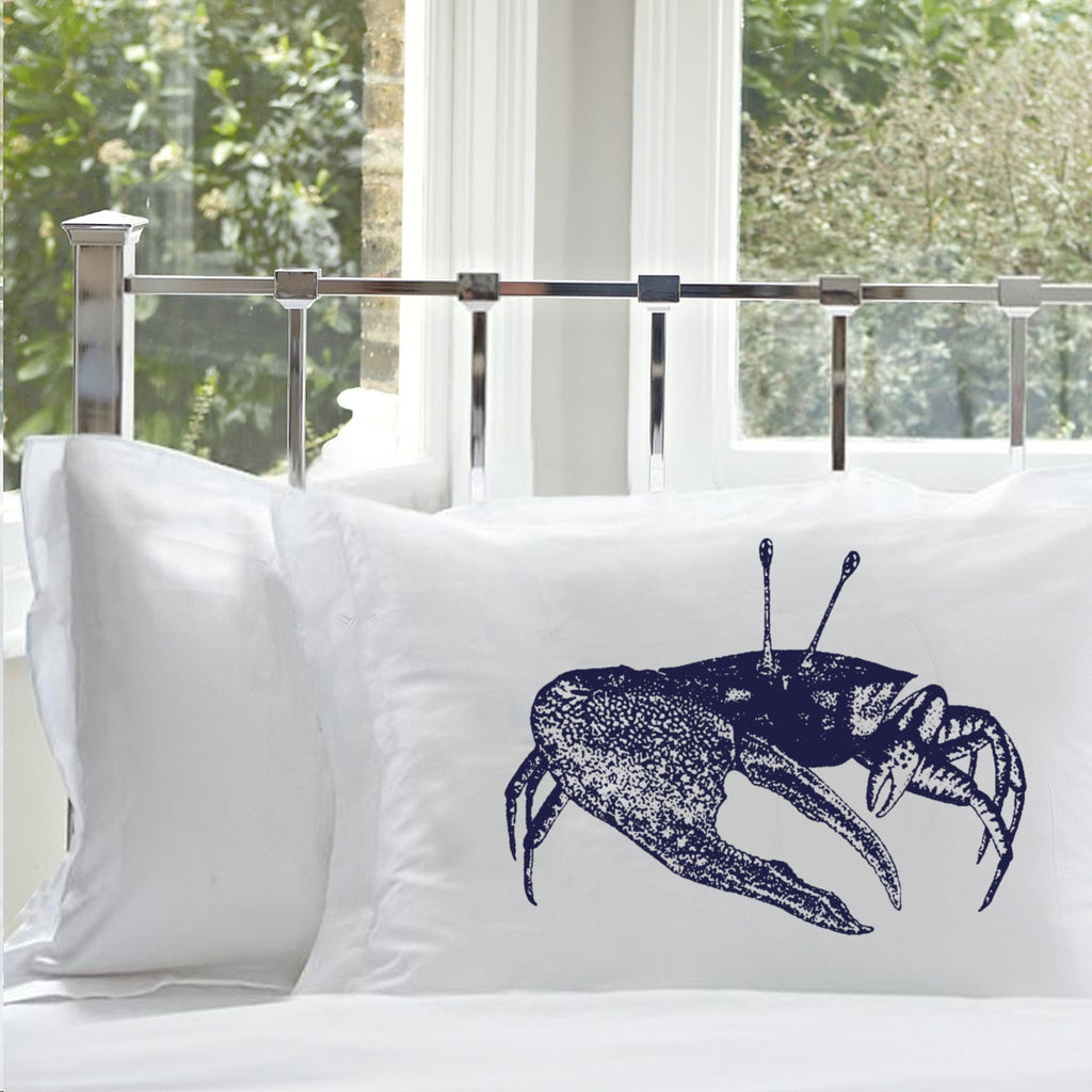 Sale - 38% off - Set of Two - Navy Blue Fiddler Crab Pillowcase pillow cover case nautical room decor
