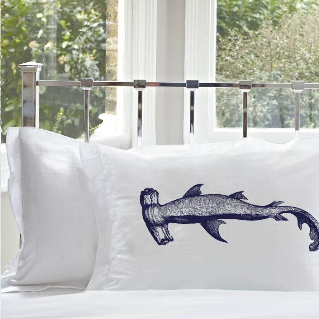 Navy Blue Hammerhead Shark Pillowcase White Nautical Decor Pillowcases pillow cover