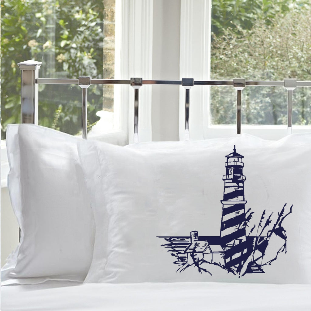 Navy Blue Striped Lighthouse Pillowcase Nautical stripes Light House Unique ART PILLOWCASE pillow cover case