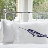 Navy Blue Narwhal whale White Nautical Pillowcase cover pillow case fish unicorn