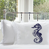 Navy Blue Sea Horse pillowcase seahorse pillowcase White Nautical Pillowcase cover pillow case
