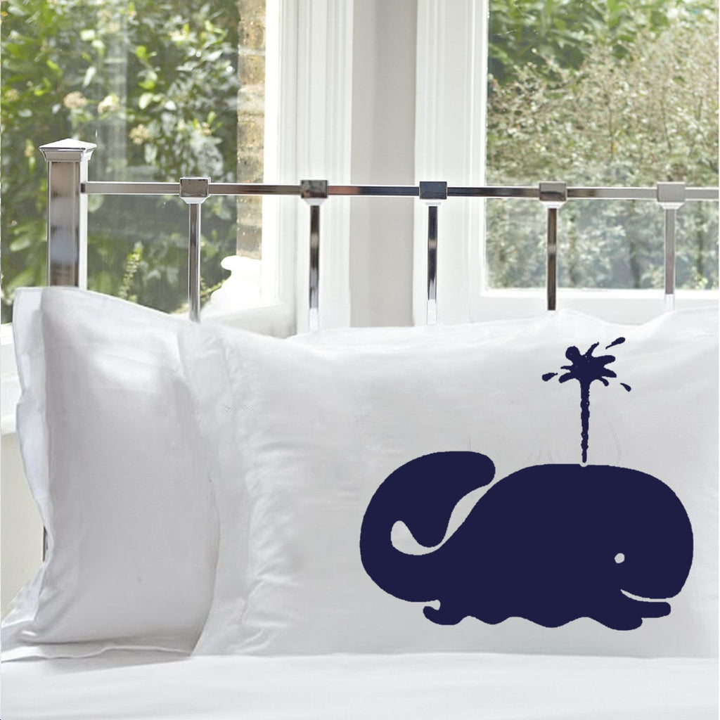 Navy Blue Spouting Whale Pillowcase Nautical Pillowcase cover nautical bedding