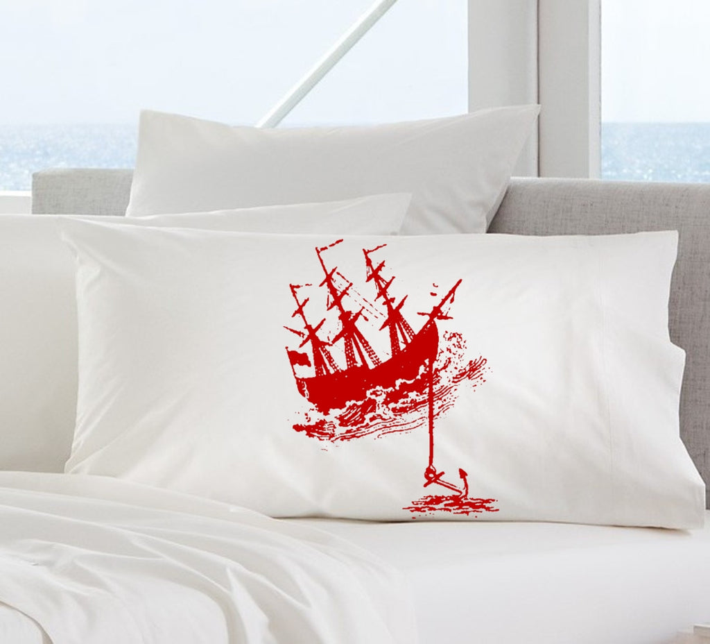 Red Ship with Anchor Nautical Pillowcase pillow cover ocean sea week