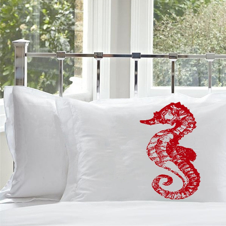 Red Sea Horse White Nautical Pillowcase cover pillow case