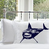 Navy Blue Great White Shark Pillowcase nautical bedding cotton / poly shark bedding shark week made in the USA