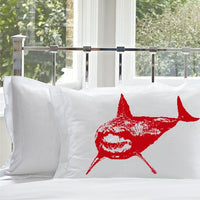 Red Shark White Nautical Pillowcase pillow cover ocean sea week