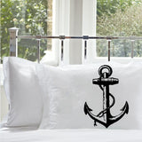 Black Nautical Ship's Anchor PILLOWCASE pillow covers