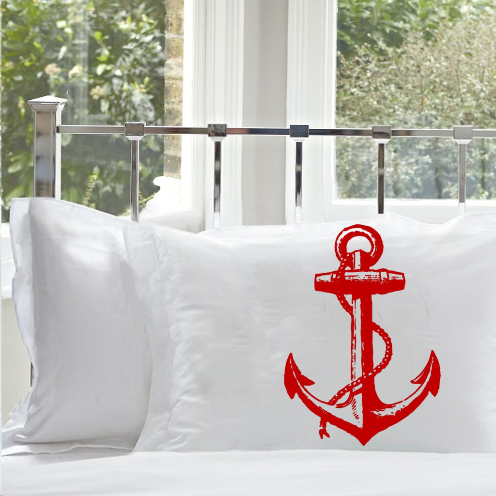 Red Nautical Ship's Anchor PILLOWCASE pillow covers