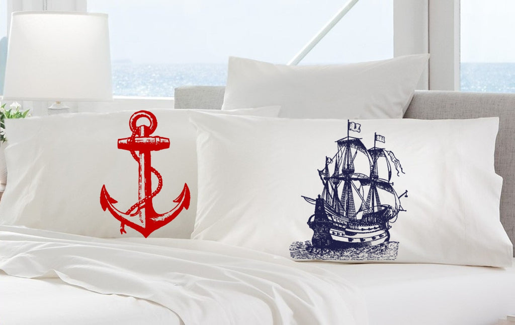 Set of Red Nautical Ship's Anchor and Navy Blue Clipper pirate Ship Pillowcases pillow covers