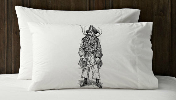 Black PIRATE black beard Nautical pillowcase cover