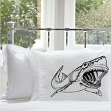Black Big Mouth Great White Shark Standard Nautical Pillowcase