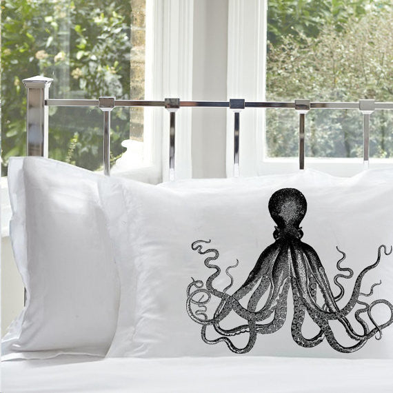 Pacific Ocean Octopus Nautical Pillowcase