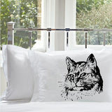 Black Retro Cat Pillowcase pillow cover case bedding kitten bedroom decor