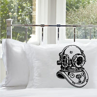 Deep Sea Diver Helmet Nautical Pillowcase black print