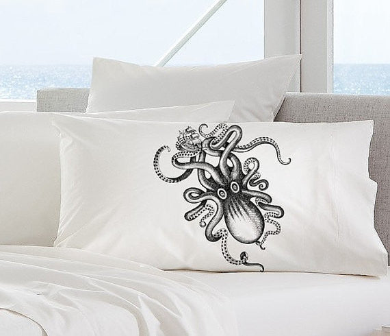 Big Kraken Octopus Nautical Pillowcase