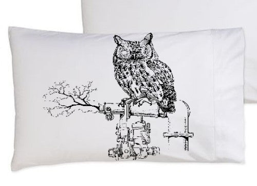 Black Steam Punk Owl Standard Pillowcase pillow cover