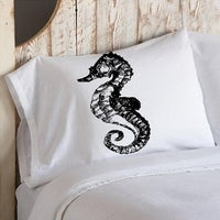 Black Sea Horse White Nautical Pillowcase cover pillow case