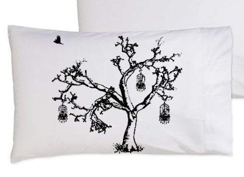 Tree w/ birdcage pillowcase