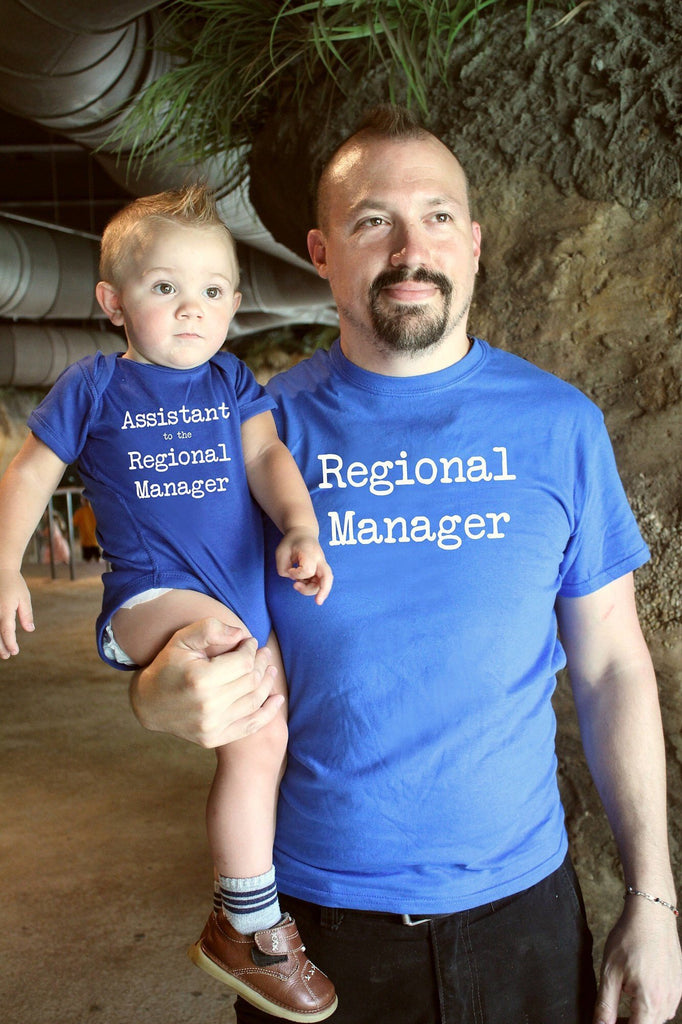 Father Son Matching Blue Shirts | Regional Manager Assistant to the Regional Manager | father son shirts | daddy and me | new baby | matching tee