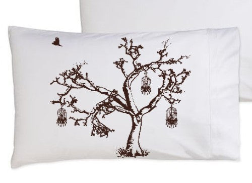 Brown Birds Of Freedom Tree Birdcage Standard Pillowcase