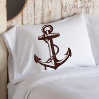 Brown Ship Anchor Ocean Beach Nautical Standard Pillowcase