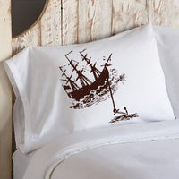 Brown Clipper Ship Boat w/ Anchor Ocean Beach Nautical Standard Pillowcase