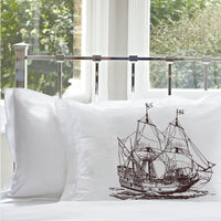 Brown Big Clipper Ship Standard White Nautical Pillowcase Pillow Cover Case