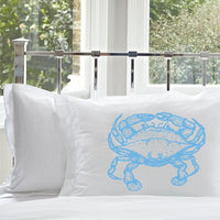 Light Peacock Blue Nautical Crab Pillowcase pillow case cover animal room decor bedding