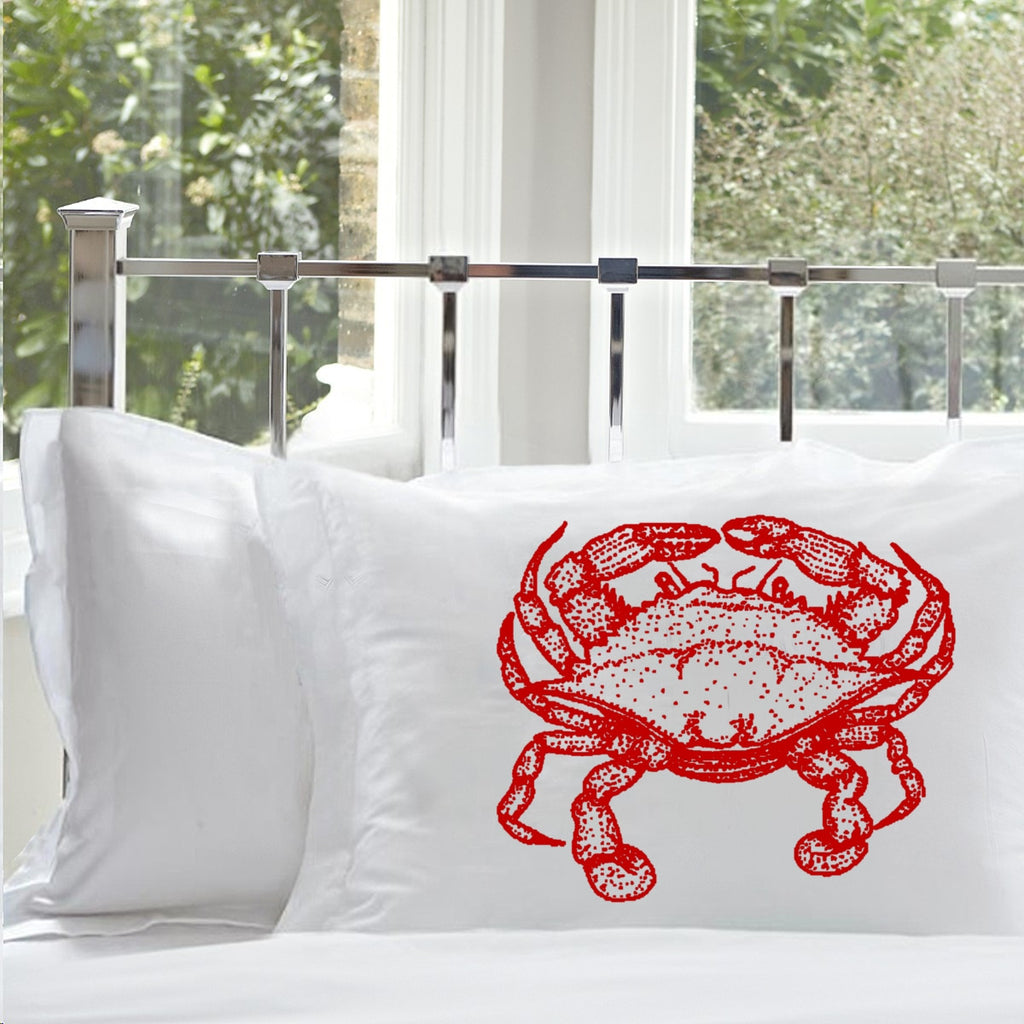 Crab White Nautical Standard Pillowcase pillow cover case Print Color Red