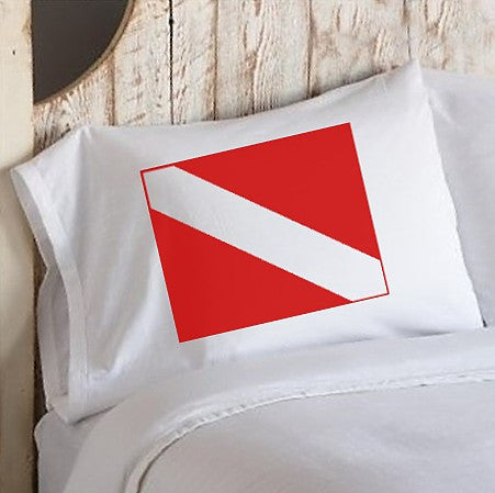 Red Diver Flag Nautical Pillowcase