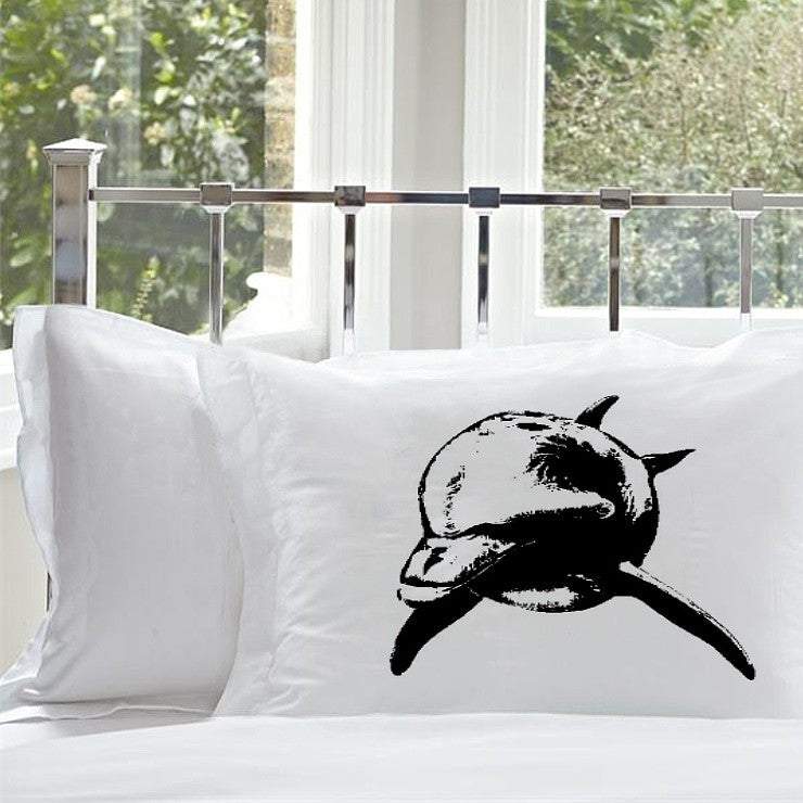 Bottle Nose Dolphin Nautical Pillowcase black print