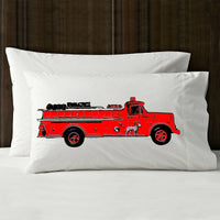 Red vintage Fire engine truck pillowcase