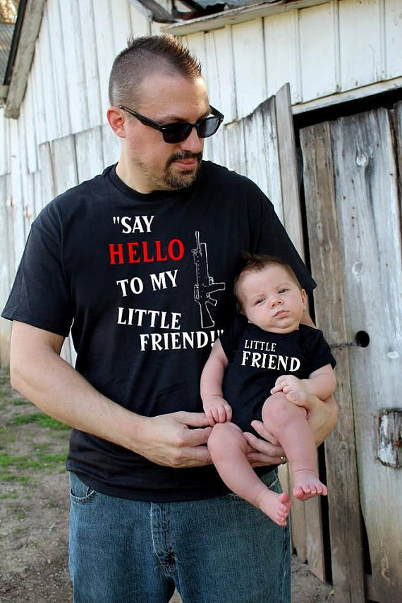 2 shirts | Father Son Matching Shirts | Say HELLO to my little friend | Fathers Day Gift | New Baby | Daddy and Me | scarface FREE Shipping!