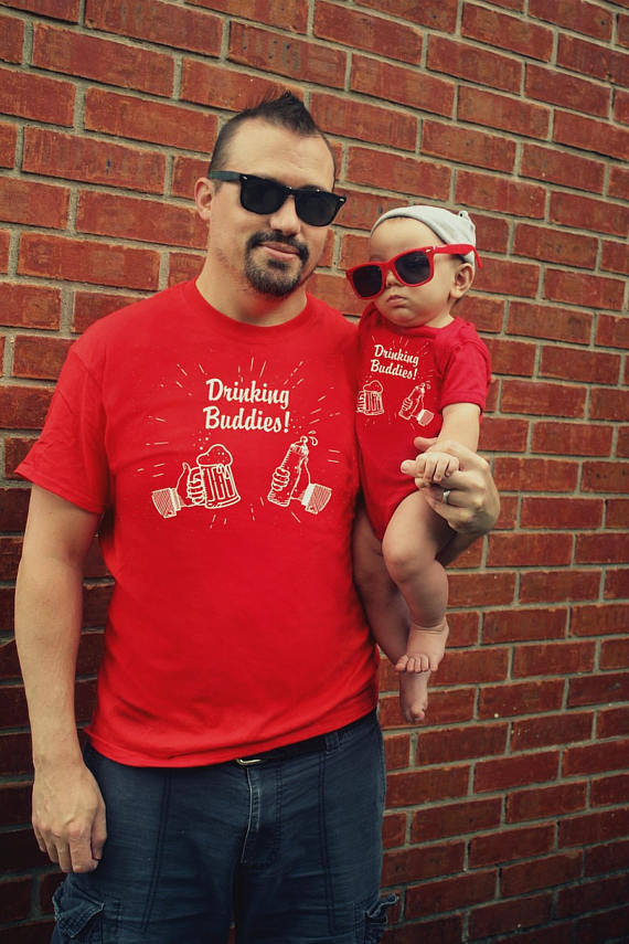 2 Red shirts funny DRINKING BUDDIES Father Son Daughter Matching Gift set Daddy Baby Shirt