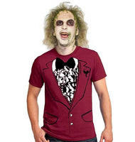 Funny easy BEETLEJUICE style wedding men's halloween costume shirt tuxedo