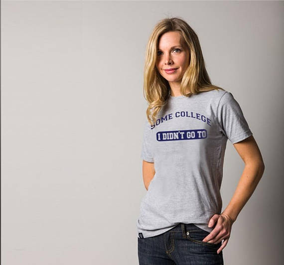 SOME COLLEGE I didn't go to hipster logo while we're young we are were womens ladies mens t Tee Shirt fan NAVY blue gray