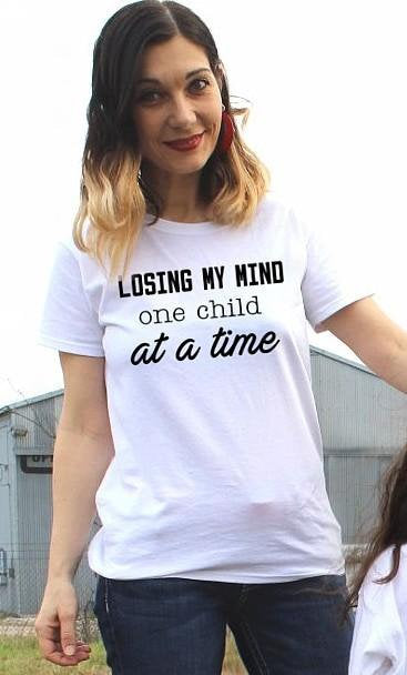 Funny Shirt | Mom Life | Hot Mom Shirt | Mom Gift | Mother's Day Gift | gift for Mom |losing my mind one child at a time mommy and me Tshirt