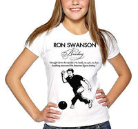 RON SWANSON funny bowling figure skating Quote womens ladies t Tee Shirt parks mustache sign eggs bacon meat wood fan show art