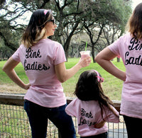 PINK LADIES Shirt greaser lady punk party sock hop group family cruise vacation matching mommy and me music dance rock star 1950 50s Tshirt