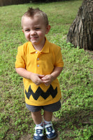 Retro NEW Charlie Yellow Zig Zag boys FUNNY Halloween Costume Polo Shirt