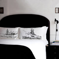 Naval Battleship Nautical Pillowcase Set