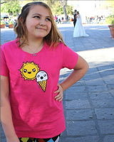 Kawaii Cute Sun Ice cream funny Pink mori Girls Tshirt