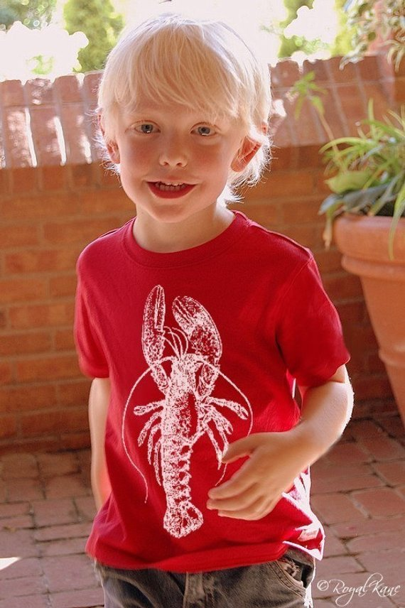 Red Lobster t-shirt teeshirt white NAUTICAL tee Art friendly sailor sail shell claw tail navy ocean sea eco coast UNIQUE Toddler