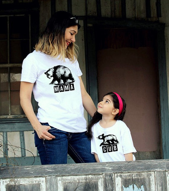 2 shirts- MAMA Bear and CUB mother child shirt como