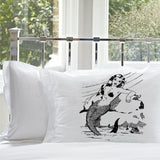 Black Mermaid on a Rock White Nautical Pillowcase pillow cover ocean sea