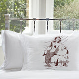 Brown Mermaid on a Rock White Nautical Pillowcase pillow cover ocean sea