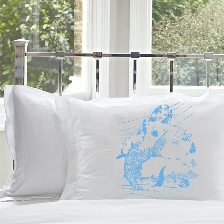 Light Peacock Blue Mermaid on a Rock White Nautical Pillowcase pillow cover ocean sea