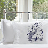 Navy Blue Mermaid on a Rock White Nautical Pillowcase pillow cover ocean sea